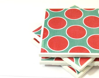 Ceramic Tile Coasters - Emerald and Red Polka Dots (Set of 4 Coasters)