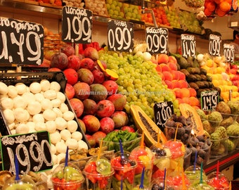 La Boqueria Fruit Market - Signed 12 x 18 Fine Art Photograph Poster, Barcelona, Spain,  Las Ramblas, Europe, Market