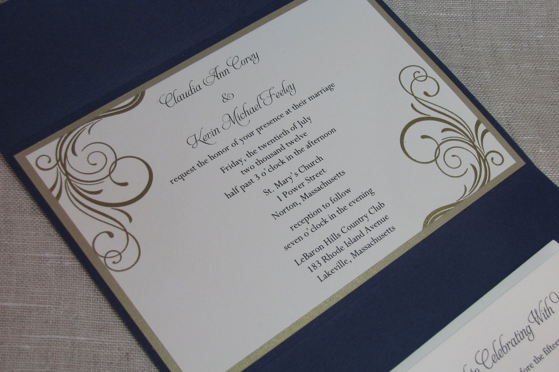 elegant wedding invitations navy blue elegant wedding invitations Wedding Stationery zoom