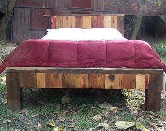 colorful reclaimed wood bed frame - Wood Bed Frames Queen
