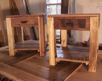 Rustic Parsons Style End Tables with Drawer, Shelf and Vintage Pulls