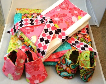 Baby Quilt Set with shoes burp cloth diaper and 3  burp cloths. SALE