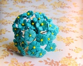 Teal blue green forget me nots Vintage style Millinery Flower Bouquet - for decorating, gift wrapping, weddings, party supply, holiday