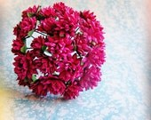 Raspberry Pink Dahlias Vintage style Millinery Flower Bouquet - for decorating, gift wrapping, weddings, party supply, holiday