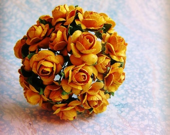 Golden Yellow rondelle Roses Vintage style Millinery Flower Bouquet - for decorating, gift wrapping, weddings, party supply, holiday