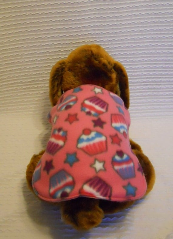 Fleece Dog Coat in Pink Cupcake Fleece in Sizes SMALL to LARGE