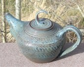 Teapot TEA LADY BLUE - Two Lids Included - Handmade Carved Pottery by The Wheel and I