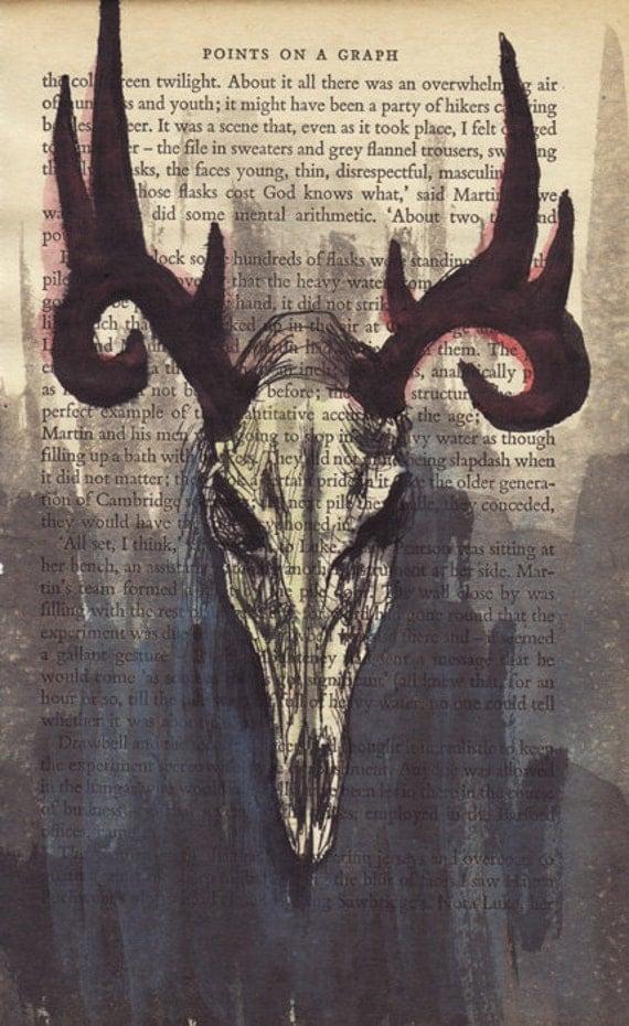 Sale - Deer Skull (red horns) - original painting on vintage page