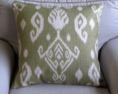 EURO SHAMS 24x24 in Ikat at its best pillow cover green on cream