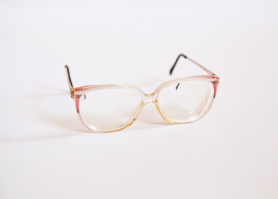 vintage nordic germany clear plastic eyeglass frames with pink and brown stripes reserved for keira s