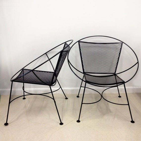 SALE Pair of Salterini Hoop Mid Century Patio Lounge Chairs