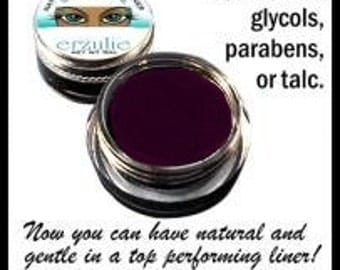 Natural and Organic Cosmetics Dark Plum Mineral Gel Eyeliner Pot  Naturagel (tm)  Made with organic ingredients  Easy to Use