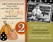 SALE - Pumpkin Patch - Halloween Birthday Costume Party Invitation - Printable Digital Photo Card - PDF JPG