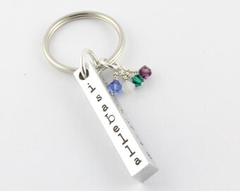 Personalized Aluminum Bar Birthstone Keychain - Custom Hand Stamped Key Ring - Four Sided Bar - Valentine's Day Day
