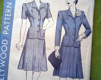 1940 Vintage Sewing Pattern - Two Piece Suit - Film Noir Hollywood Patterns 1169 / Bust 36