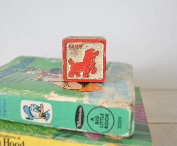 vintage lady and the tramp dog wooden block--antique disney character