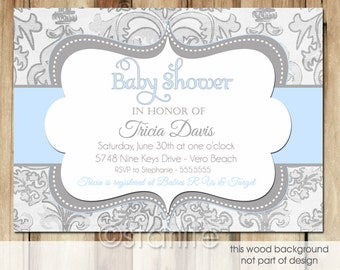 Shimmer Blue Gray - Baby Shower Invitation Blue and Gray Grey - Baby Boy - distressed damask Printable Design or Printed Option