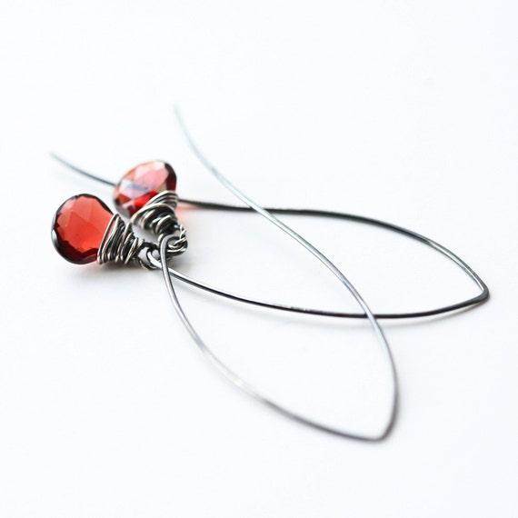 Garnet - Wire Wrapped Briolette Blackened Sterling Silver Hoop Earrings