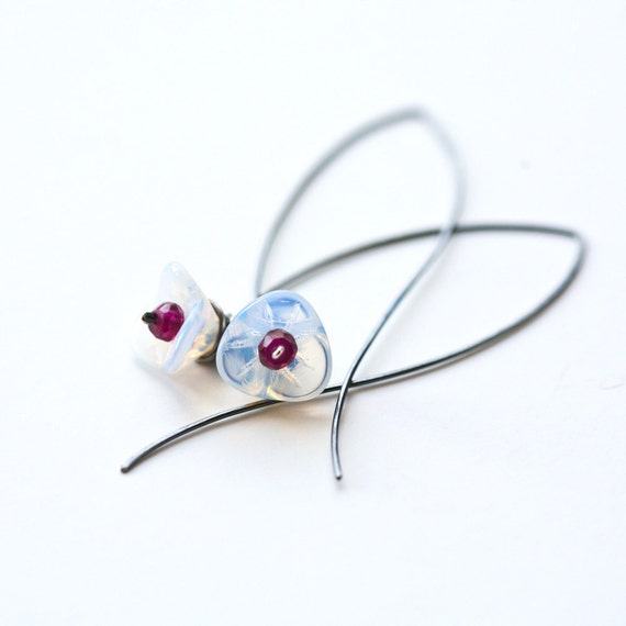 Winter Lily - Wire Wrapped opal Glass Flower and Garnet Blackened Sterling Silver Hoop Earrings