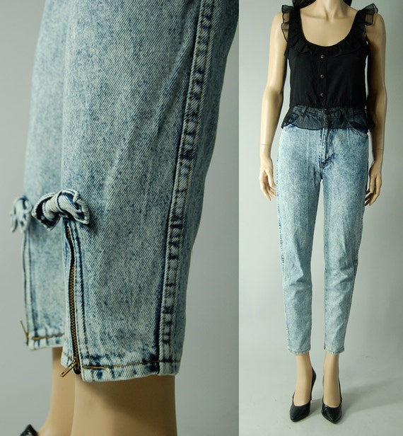 vintage womens ACID WASHED JEANS slim high waisted small