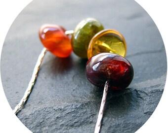 Jura Necklace. Garnet, Citrine, Carnelian, Green Garnet