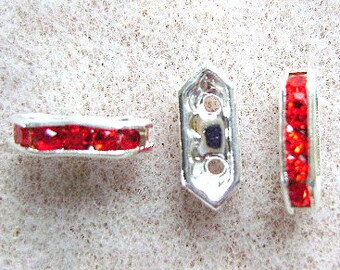 Spacer, RHINESTONE,  Bars, Crystal, Siam,Glass, Red, 2 Hole, Separator, Bridge ,for 4,5mm Beads,PLATED,12 x 4mm, c