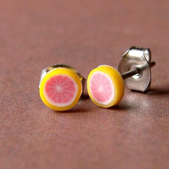 Miniature Fruit Slice Earrings - Gorgeous Grapefruit Studs