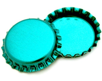 50 Metallic Turquoise Bottle Caps New Linerless