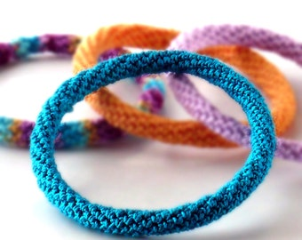 Crochet Bracelet Fiber Bracelet  Bangle Fine Thread Icord Dark Teal