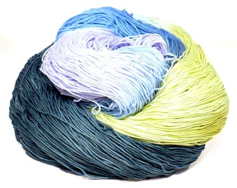 300 Yards Hand Dyed Cotton Crochet Thread Size 10 3 Ply Specialty Thread Gray Blue Chartreuse Lavender Aqua Hand Painted Fine Cotton Yarn