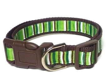 GREEN CANDY CANE, holiday collar, Christmas dog collar, tag collar, house collar, buckle collar, adjustable collar, striped dog collar