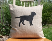 "Large Dog Silhouette Pillow Cover - 20"" x 20"""