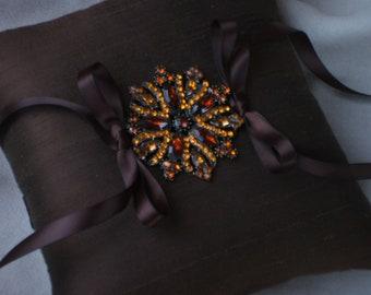 "1""Last One"" Dark Brown Amber Rhinestone Wedding Ring Bearer Pillow"