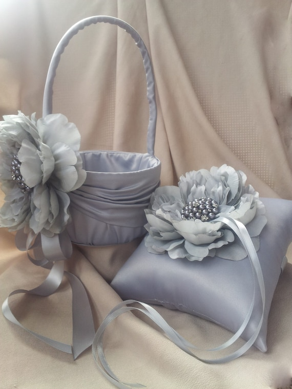 Flower Girl Basket Gray : Silver ring pillow flower girl basket with rhinestone pearl