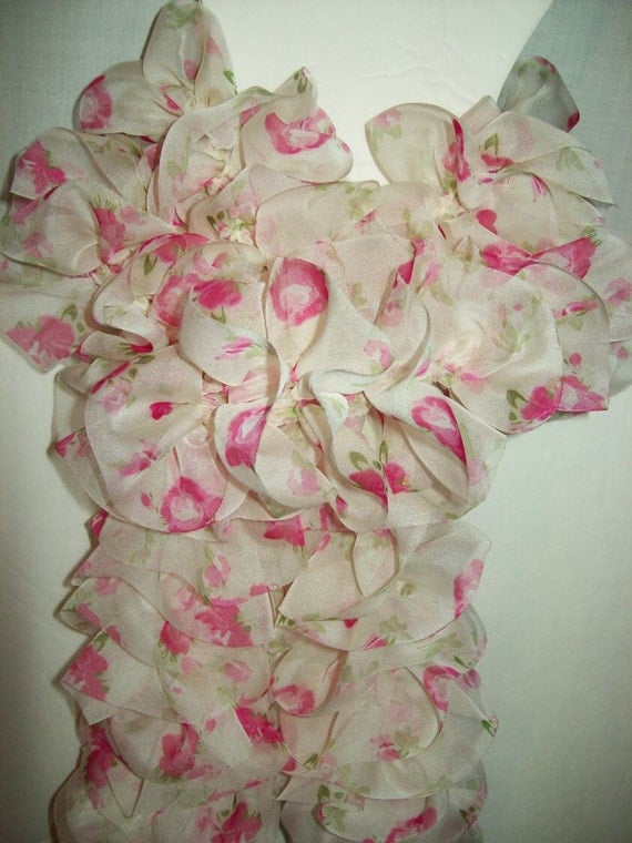 Scarf Boa PINK Tea Roses Ruffles Layered Trendy Fashion Neckwear Wedding