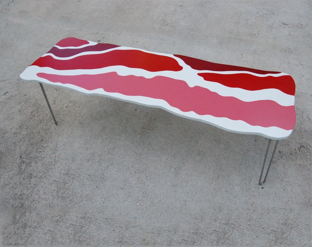 bacon coffee table handmade bench hairpin legs pop art. Black Bedroom Furniture Sets. Home Design Ideas