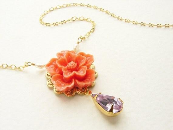 Coral cherry blossom necklace, Bridesmaid jewelry, vintage lavender rhinestone flower, wedding bridal necklace