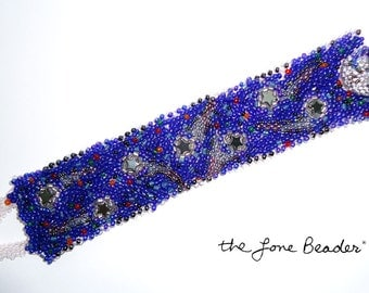 """Sale: COSMIC CUFF Layered Freeform Beaded 7"""" Bracelet for Small Wrist- Gift for Her (Ready to Ship)"""