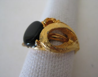 Gold Black Ring Adjustable Vintage