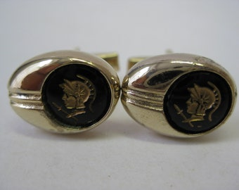 Trojan Soldier Cuff Links Gold Black Glass Vintage