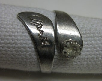 April Silver Ring Rhinestone Clear Vintage Adjustable