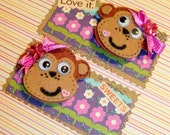 Reserved Order Jody E Pink Monkey Hair Barrette Hair Pin Pink and Brown Girl creativecaldron Hawaii
