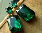 Angelina Jolie Earrings  - Large Emerald Green Earrings . Estate Style Jewelry