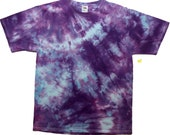 Beautiful Hand Dyed - Adult Large - T-Shirt in Purples & Blues  - One of a Kind Wearable Art (073)