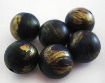 12mm - 8pcs Vintage Matte Steel Dark Blue with Gold round acrylic beads