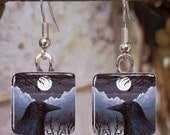 Bird 58 Crow Raven Art Glass Earrings from painting by L.Dumas