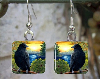 Bird 63 or 63-2 Crow Raven Sunset Art Glass Earrings from painting by L.Dumas