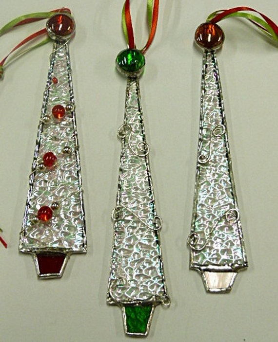 Whimsical icicle stained glass christmas tree ornaments