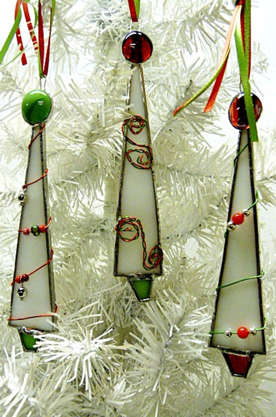 Whimsical White Stained Glass Christmas Tree Ornaments