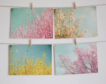Postcard Set, Spring Flowers, Blossom Photography, Nature Art, Pink and Yellow, Affordable Art - Spring